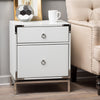 Danea White Glass 2 Drawer Bedside Table