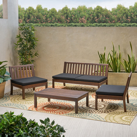 Arth Outdoor Acacia Wood Chat Set with Coffee Table