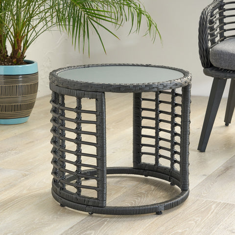 Aveion Indoor Modern Boho Wicker Side Table with Tempered Glass Top