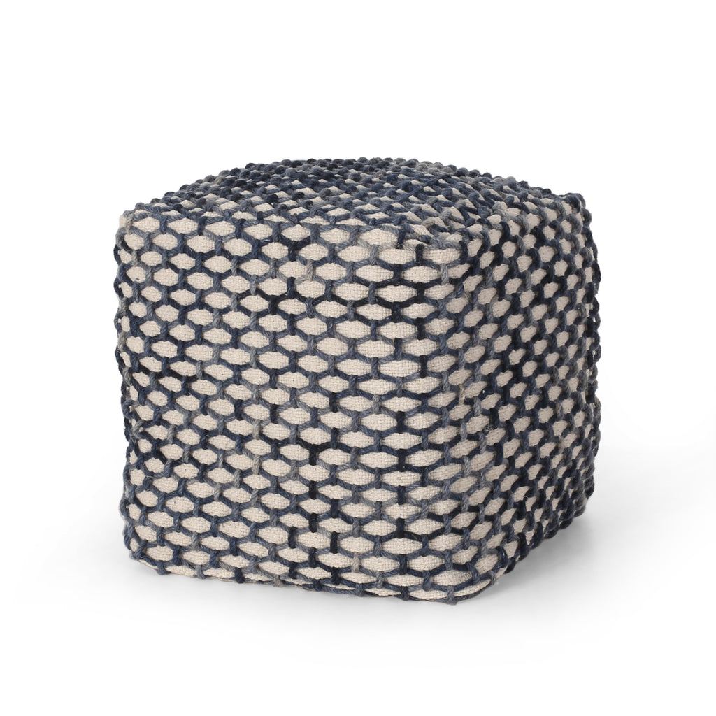 Jobe Boho Wool and Cotton Pouf