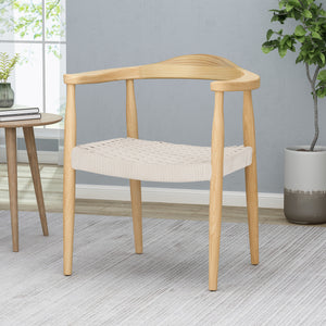 Leonela Mid-Century Modern Ash Wood Accent Chair with Olefin Rope Seat