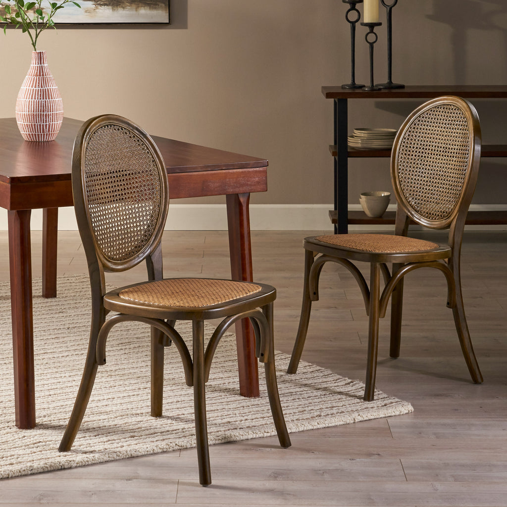 Denni Wooden Cane Back Dining Chair (Set of 2)