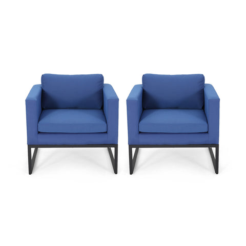Jacqueline Modern Outdoor Upholstered Club Chair (Set of 2)