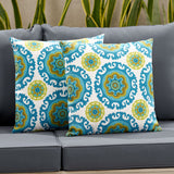Moiz Outdoor Modern Square Water Resistant Fabric Pillow (Set of 2)