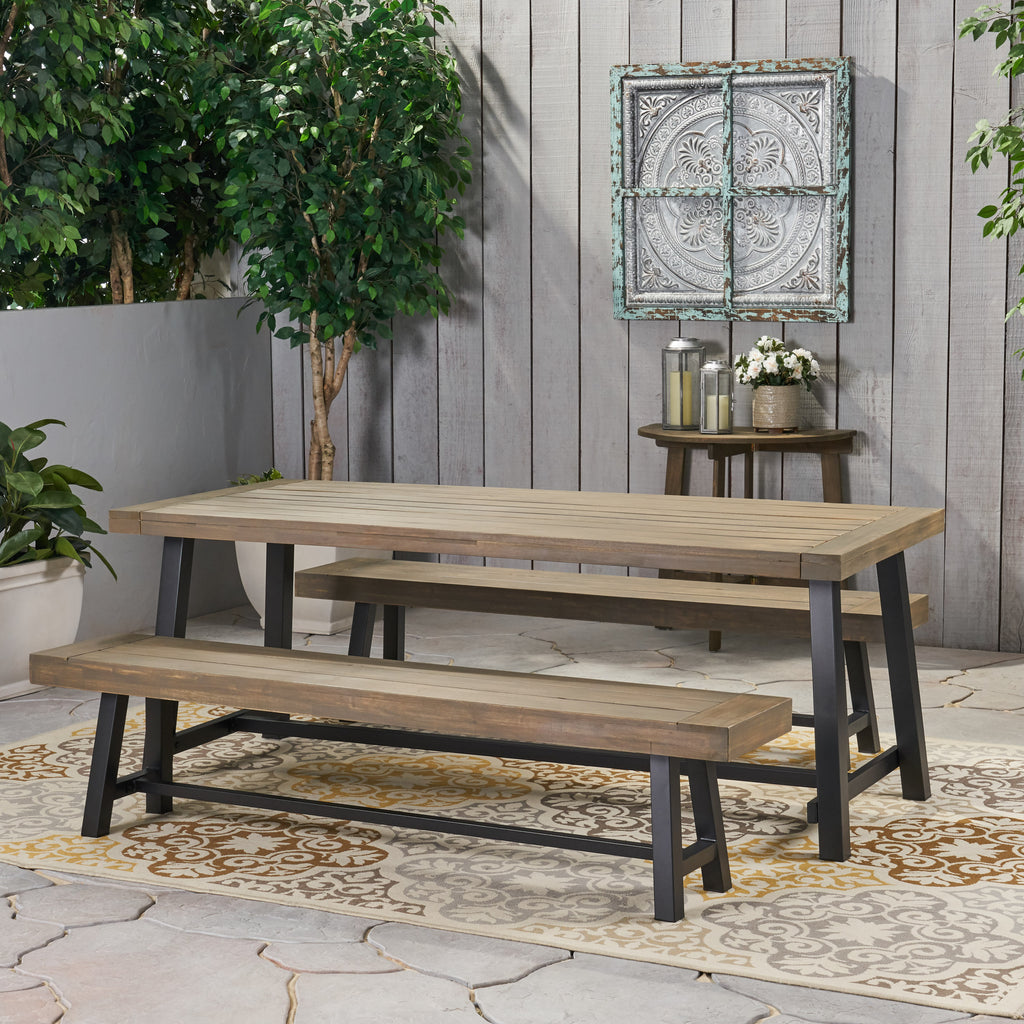 Bowman Farmhouse Outdoor Acacia Wood Picnic Dining Set