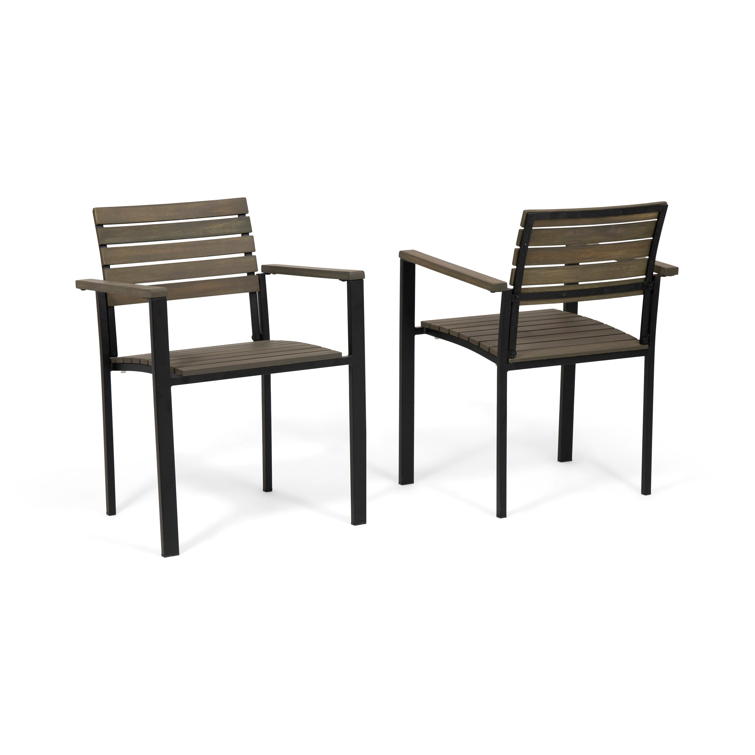 Alberta Outdoor Wood and Iron Dining Chairs Set of 2