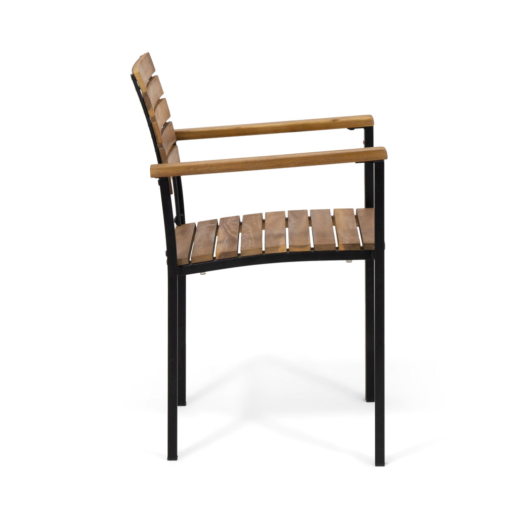 Teak And Black Great Deal Furniture Alberta Outdoor Wood And Iron Dining Chairs Set Of 2 Talkingbread Co Il