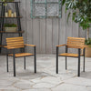 Alberta Outdoor Wood and Iron Dining Chairs (Set of 2)