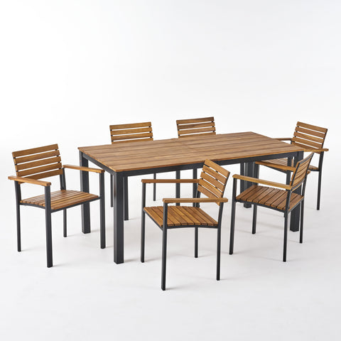 Veromca Outdoor 6 Seater Wood and Iron Dining Set