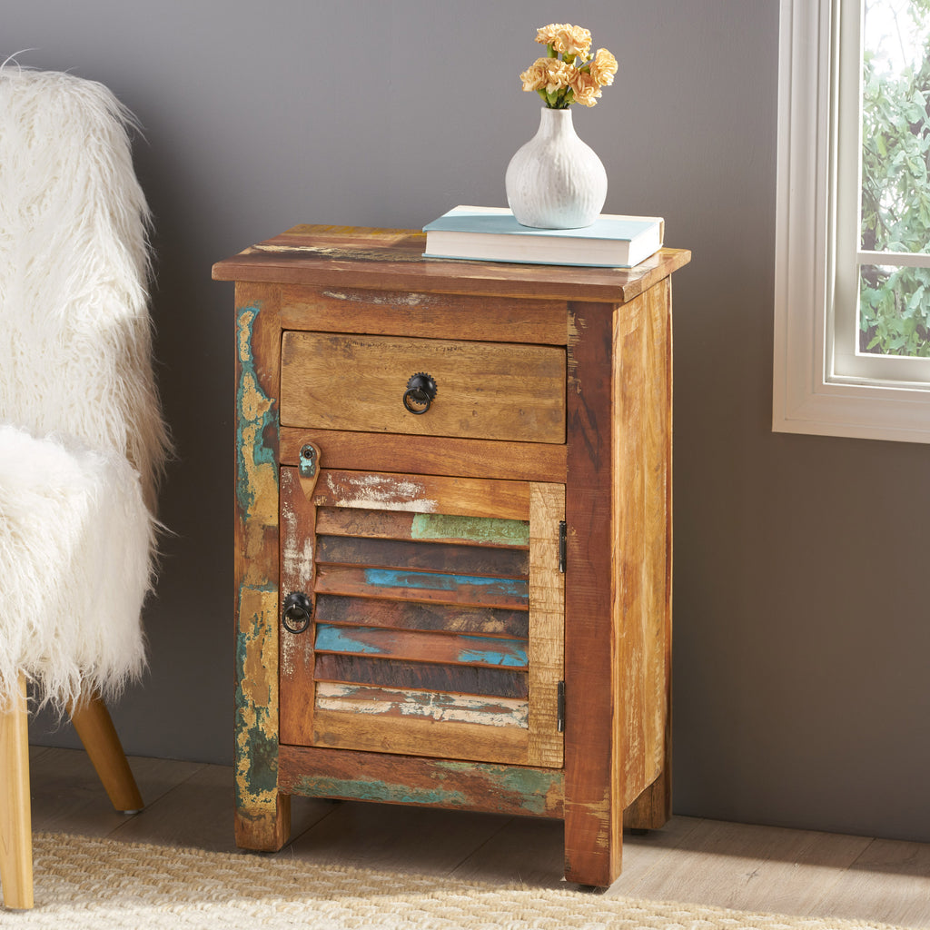 Salome Wooden Side Table with Drawer