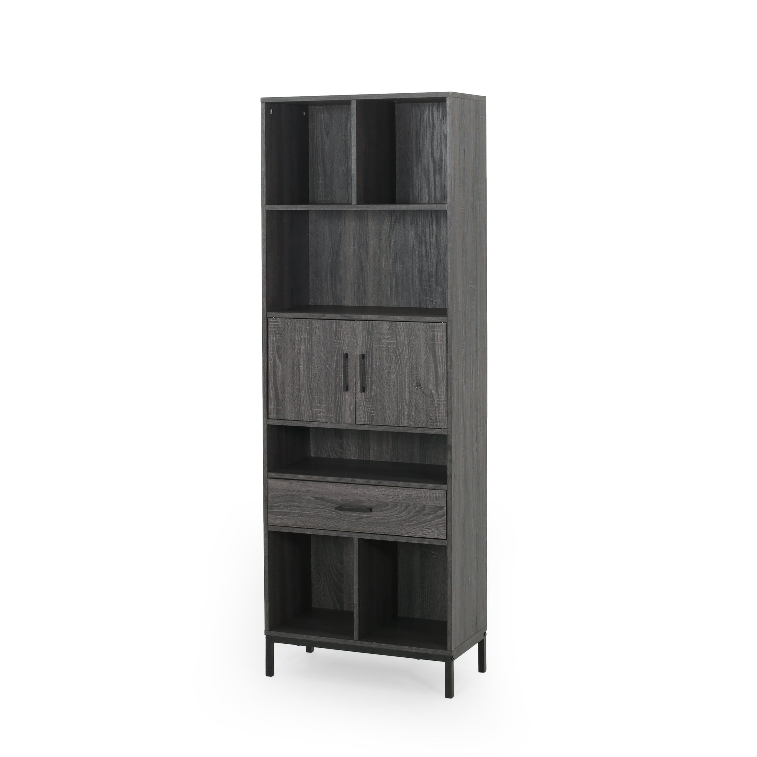 Abriel Bookcase with Storage Cabinet Drawer Walnut