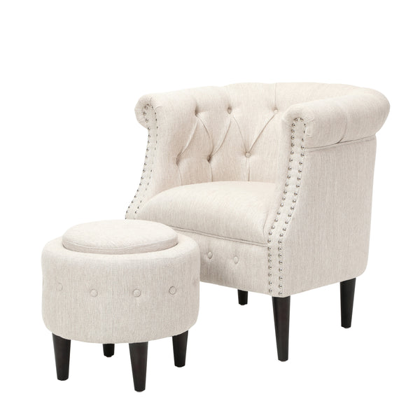 Atticus Petite Tufted Fabric Chair and Ottoman Set