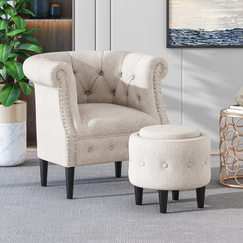 Atticus Petite Tufted Fabric Accent Chair and Ottoman Set