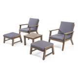 Avacyn Outdoor Mid-Century Modern Acacia Wood 2 Seater Chat Set with Ottomans