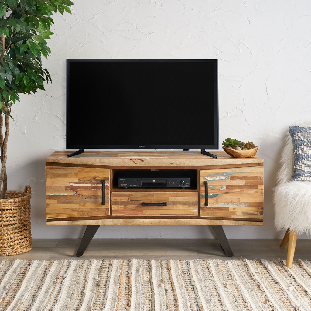 Alithea Handcrafted Boho Reclaimed Wood TV Stand