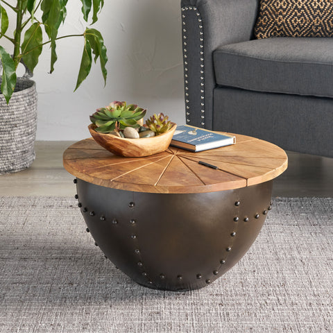 Aysen Handcrafted Modern Industrial Mango Wood and Iron Coffee Table