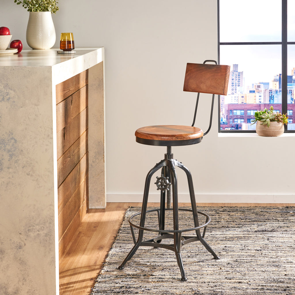 Christal Modern Industrial Acacia Wood Bar Stool