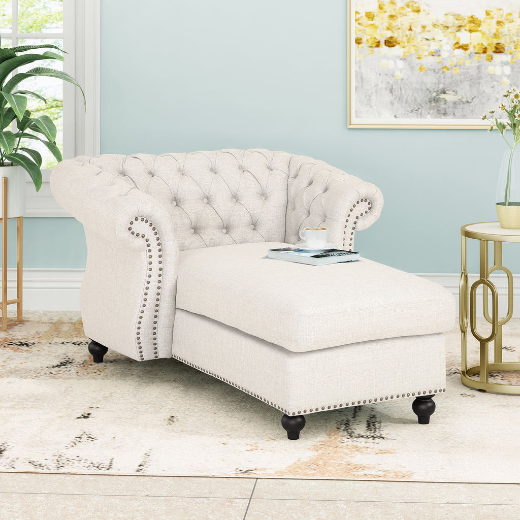 Phyllis Modern Glam Fabric Chesterfield Chaise Lounge