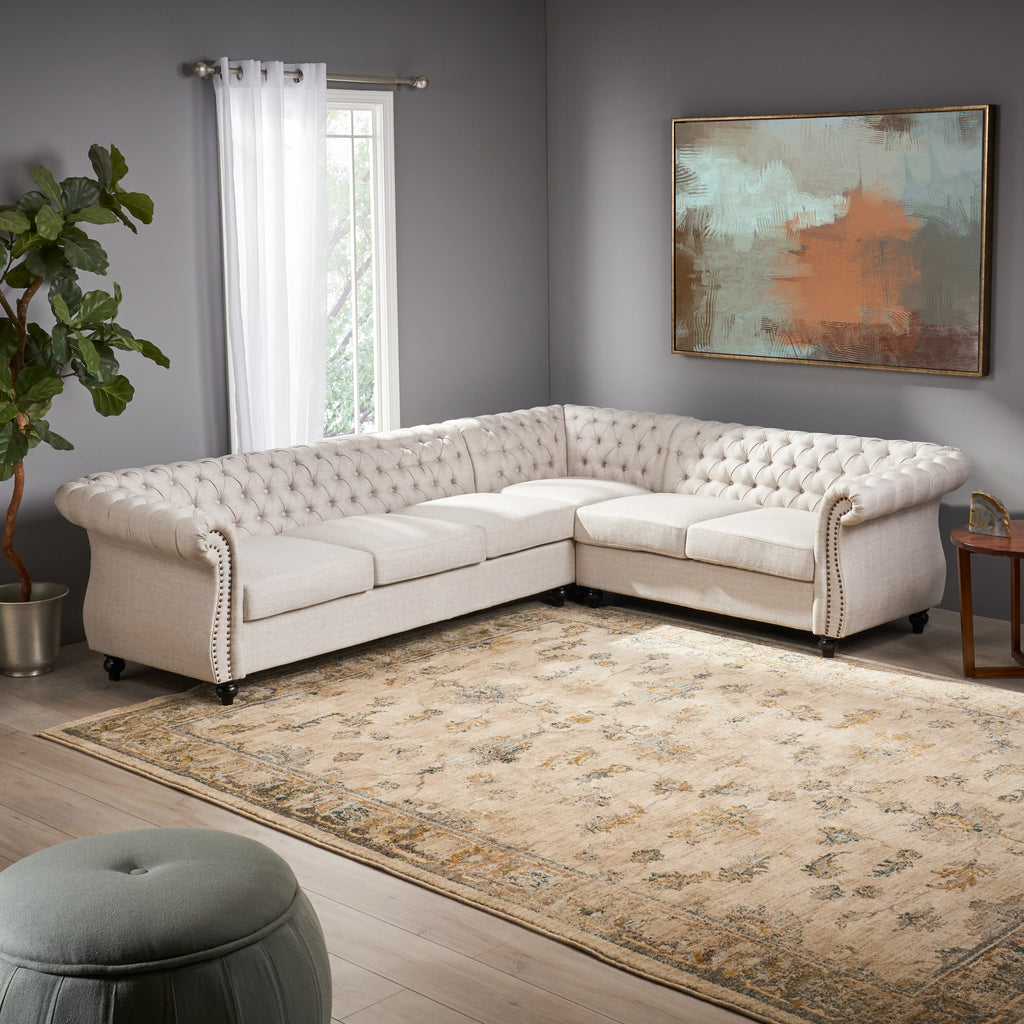 caroline 6 seater fabric tufted chesterfield sectional