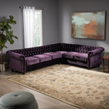 Caroline 6 Seater Tufted Velvet Chesterfield Sectional