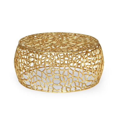 Aaleyah Modern Aluminum Mesh Coffee Table, Gold