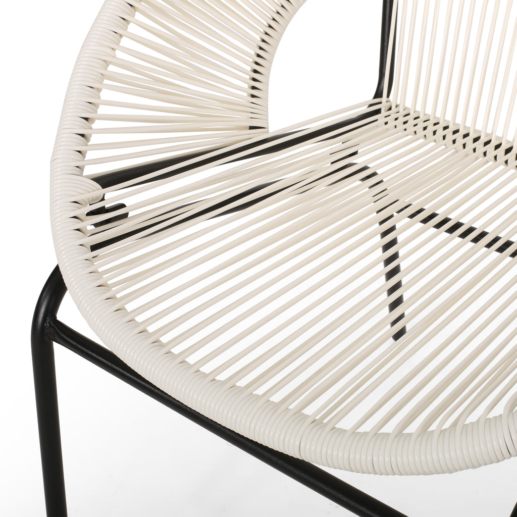 Modesty Outdoor Modern Faux Rattan Club Chair (Set of 2)