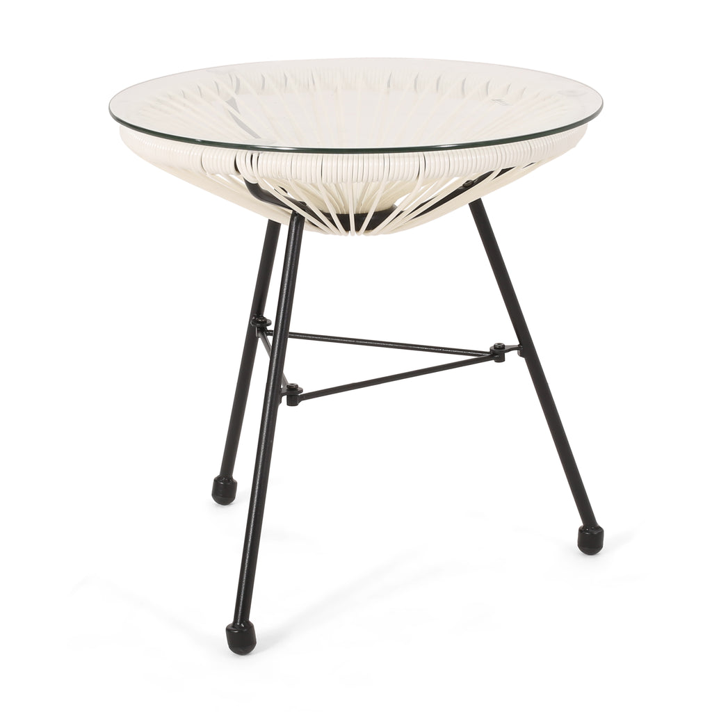 Novia Outdoor Modern Faux Rattan Side Table with Tempered Glass Top