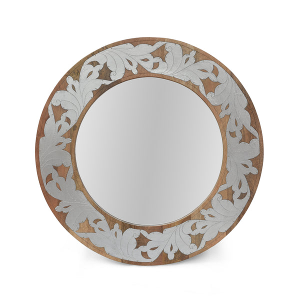Danyella Mango Wood Aluminum Fitted Round Mirror