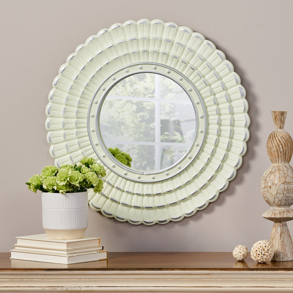 Harriet Modern Round Mirror with Carved Frame
