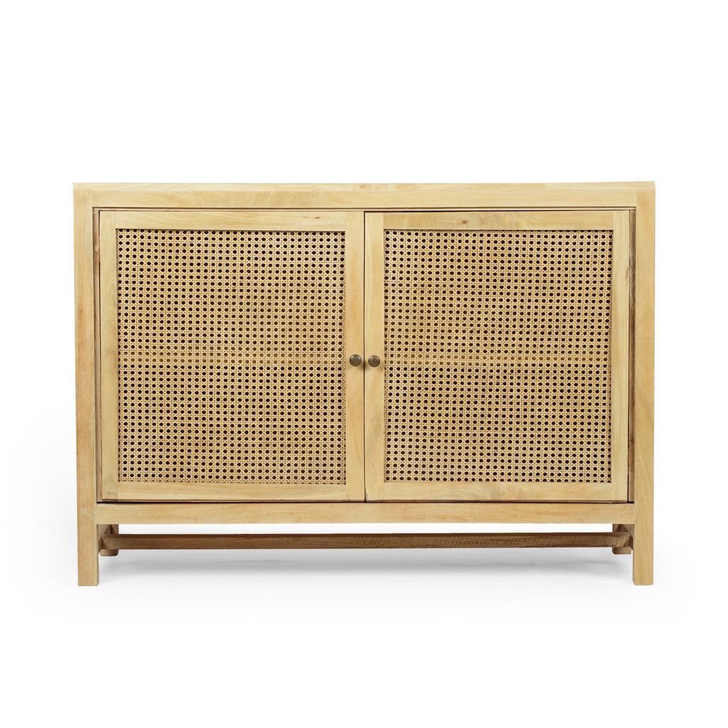 Viola Boho 2 Door Mango Wood Cabinet with Wicker Caning