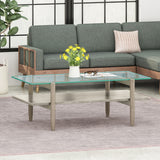 Janitza Acacia Wood Coffee Table with Tempered Glass Top