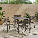 Mikell Traditional Outdoor Aluminum 5 Piece Dining Set with Square Table