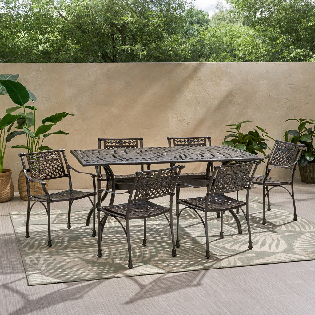 Mikell Traditional Outdoor Aluminum 7 Piece Dining Set