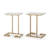 Ariade Modern Glam C Side Table, Set of 2, White and Champagne Gold