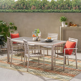 Cherie Outdoor Modern 6 Seater Aluminum Dining Set with Faux Wood Table Top