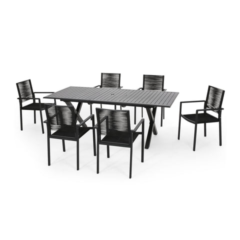 Layni Outdoor Modern 6 Seater Aluminum Dining Set with Expandable Table
