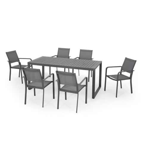Maddi 6 Seater Aluminum Dining Set