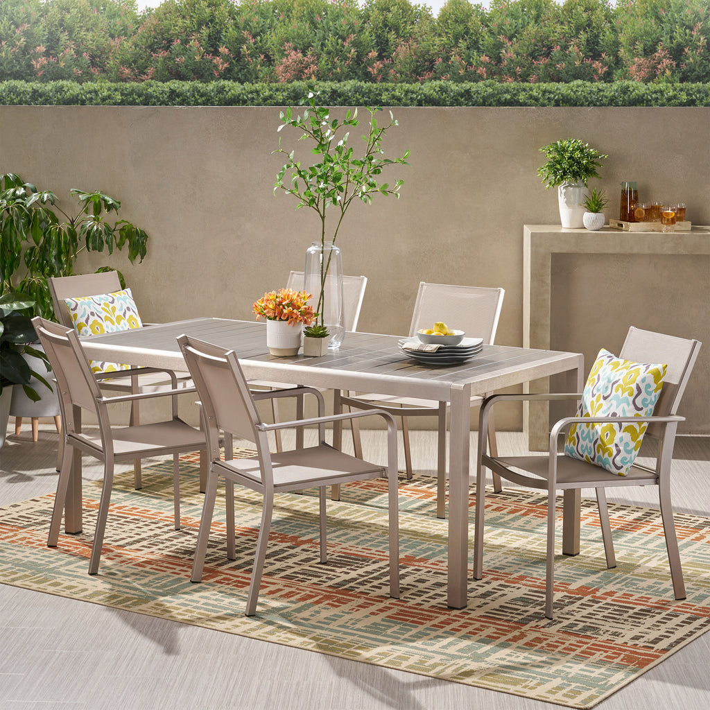 Thali Outdoor Modern 6 Seater Aluminum Dining Set with Faux Wood Table Top