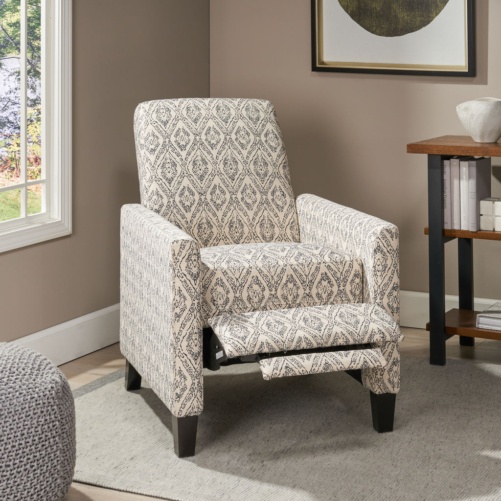 Nayan Contemporary Fabric Upholstered Push Back Recliner