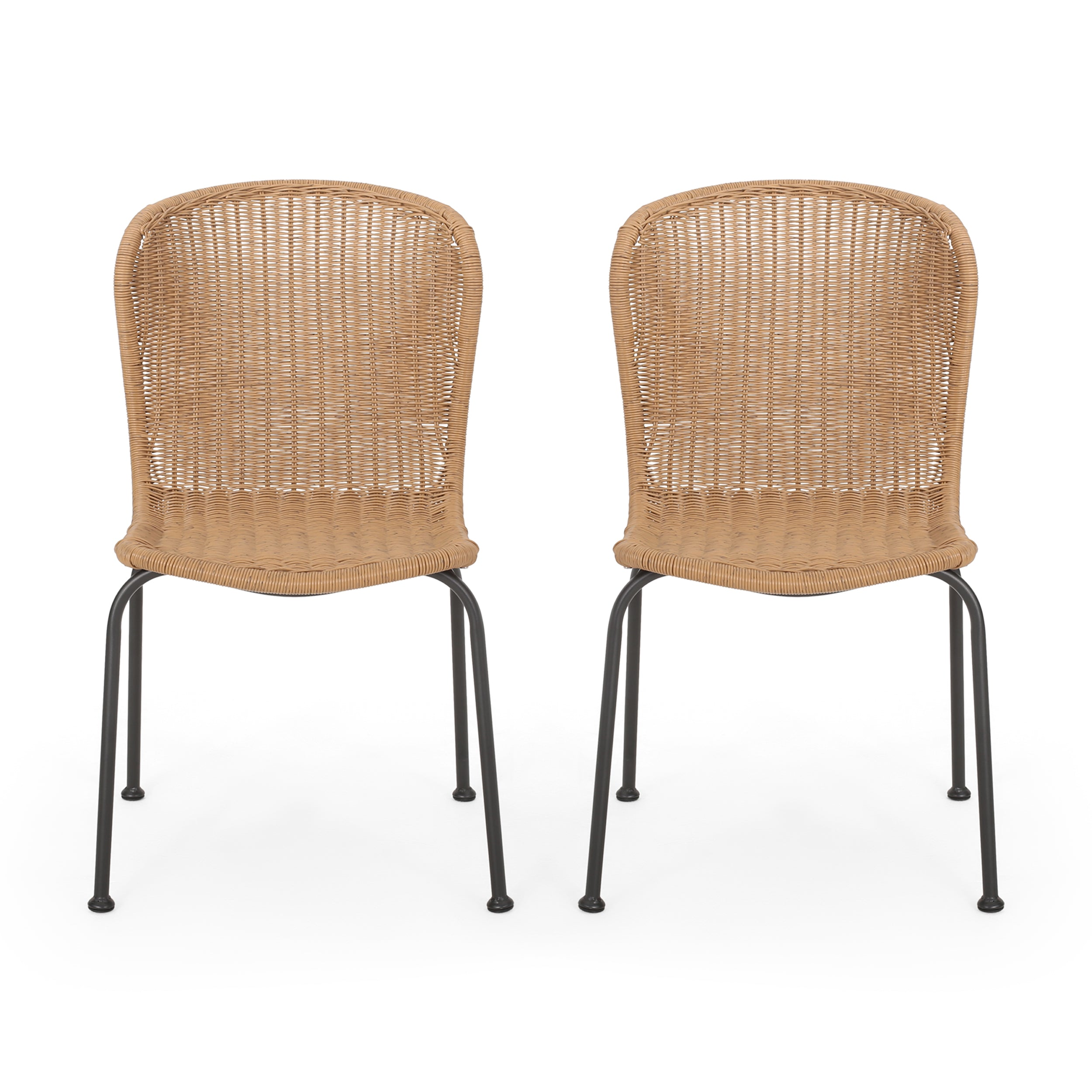Akim Outdoor Boho Wicker Dining Chair Set of 2