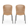 Akim Outdoor Boho Wicker Dining Chair (Set of 2)