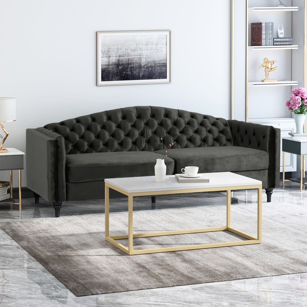 Darionna Glam Button Tufted Velvet 3 Seater Sofa