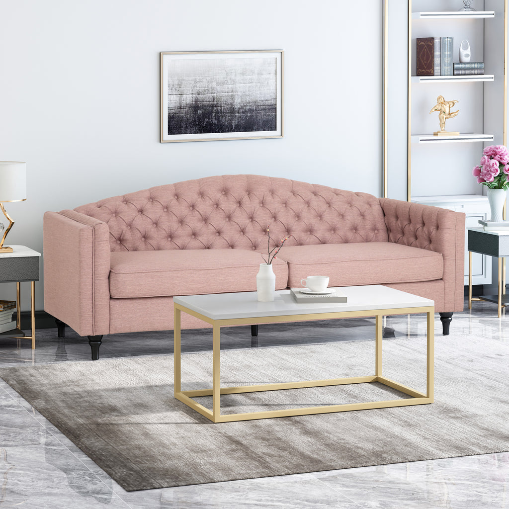 darionna glam button tufted fabric 3 seater sofa