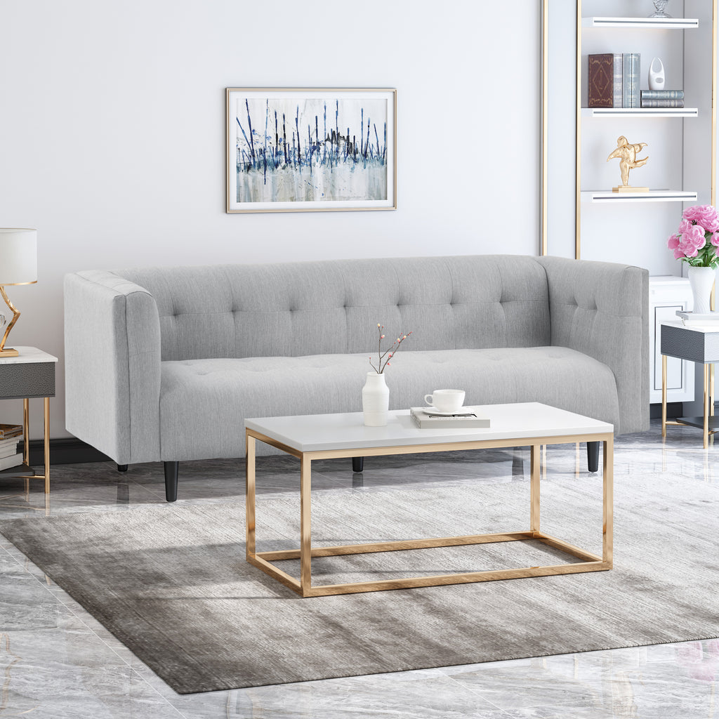 kennedii mid-century modern fabric upholstered tufted 3 seater sofa