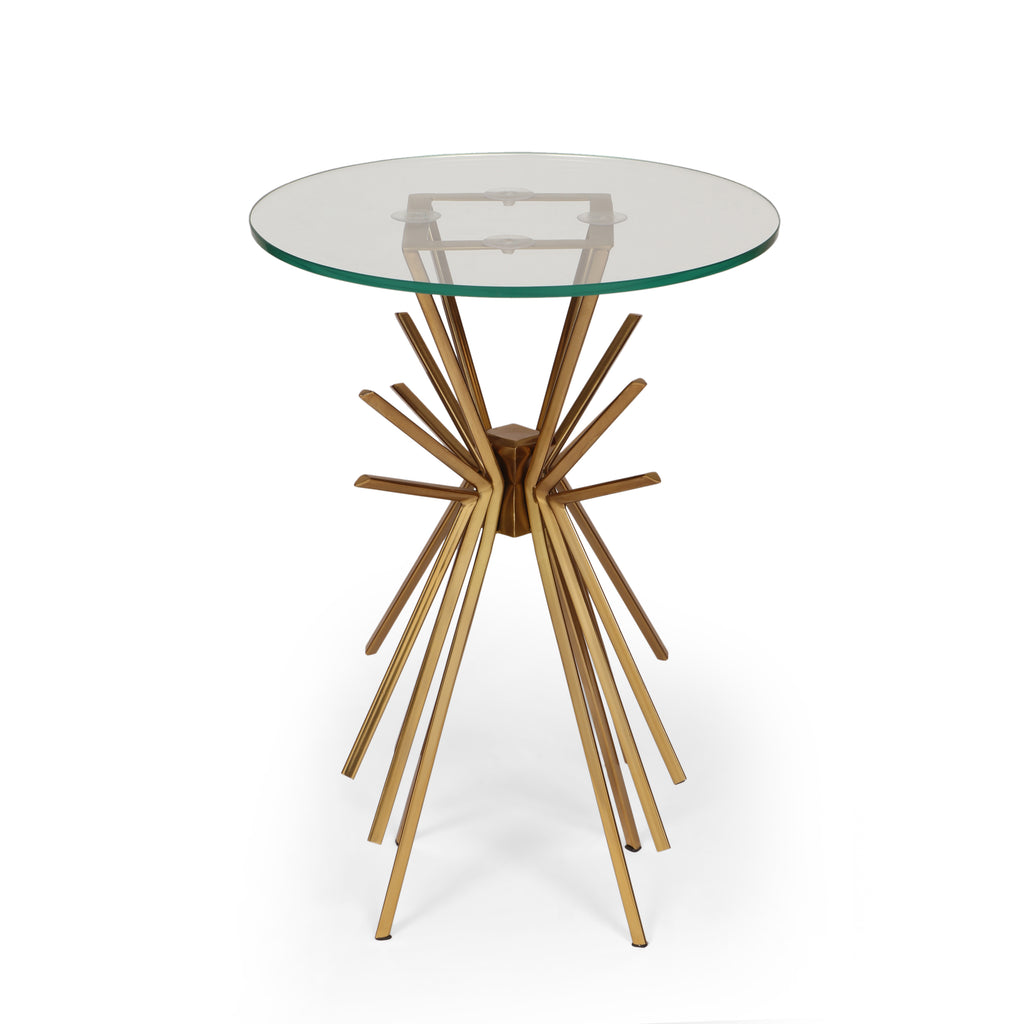 Martha Modern Glam Sunburst Accent Table with Tempered Glass Top