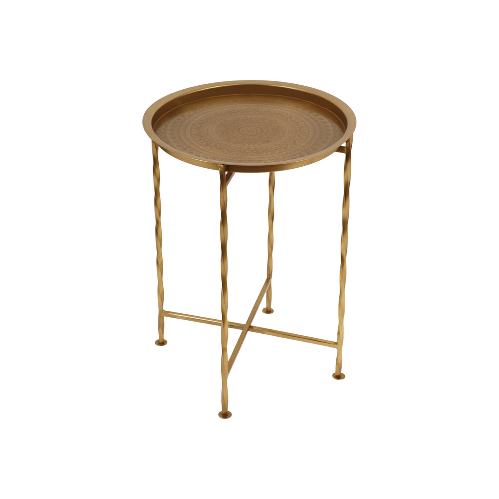 Shanvika Vintage Style Iron Tray Top Side Table
