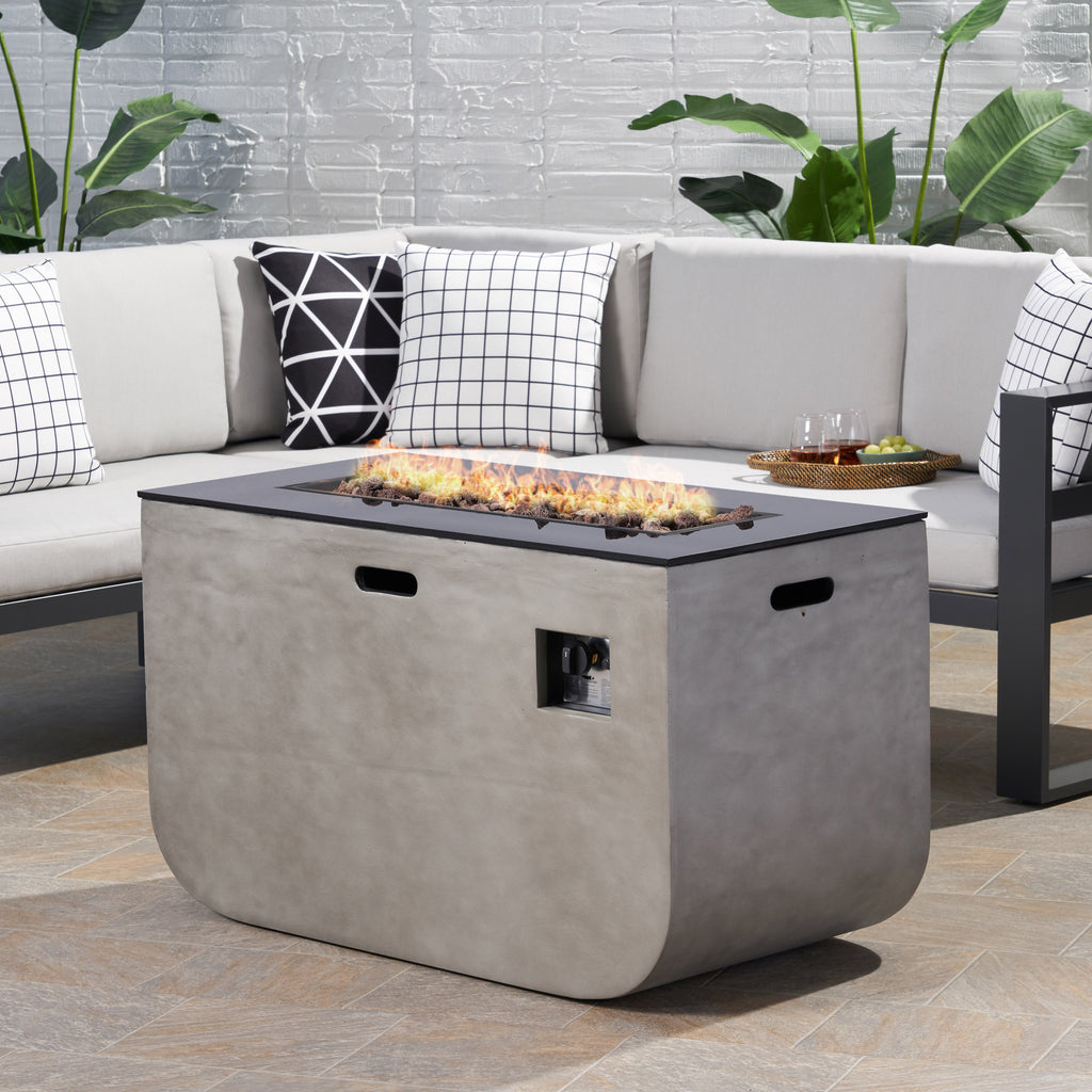 Laini Outdoor Modern 40-Inch Rectangular Fire Pit