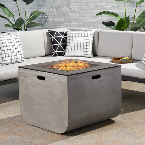 Laini Outdoor Modern 30-Inch Square Fire Pit