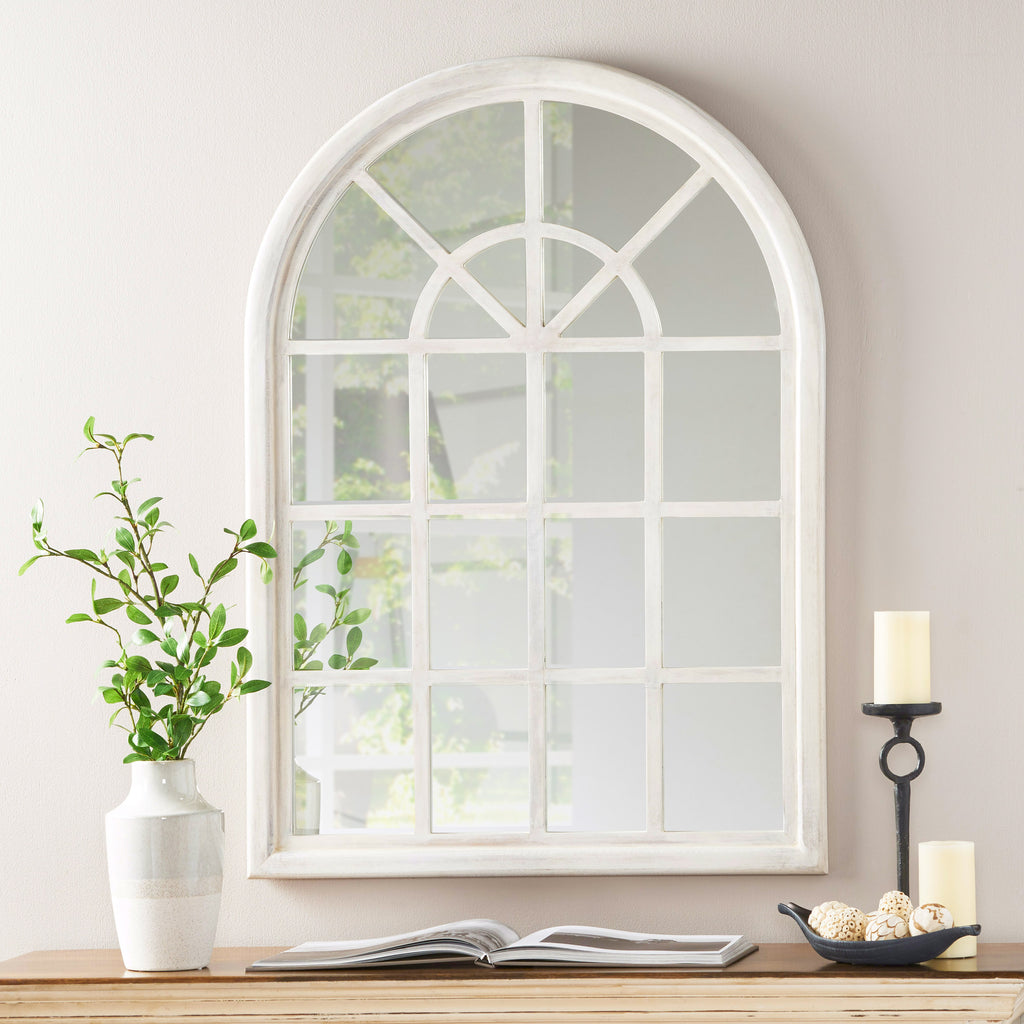 Sebastiane Traditional Arched Windowpane Mirror