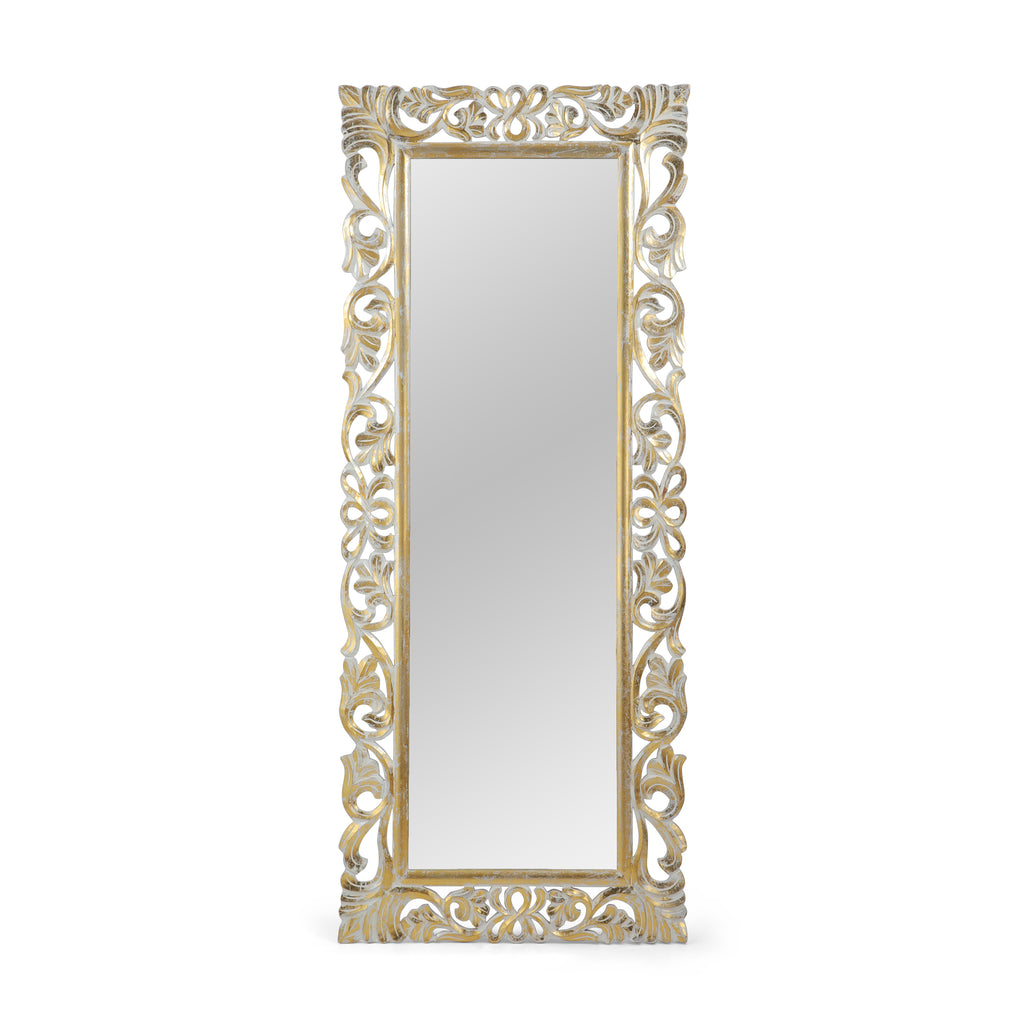 Sarah Traditional Standing Mirror with Floral Carved Frame